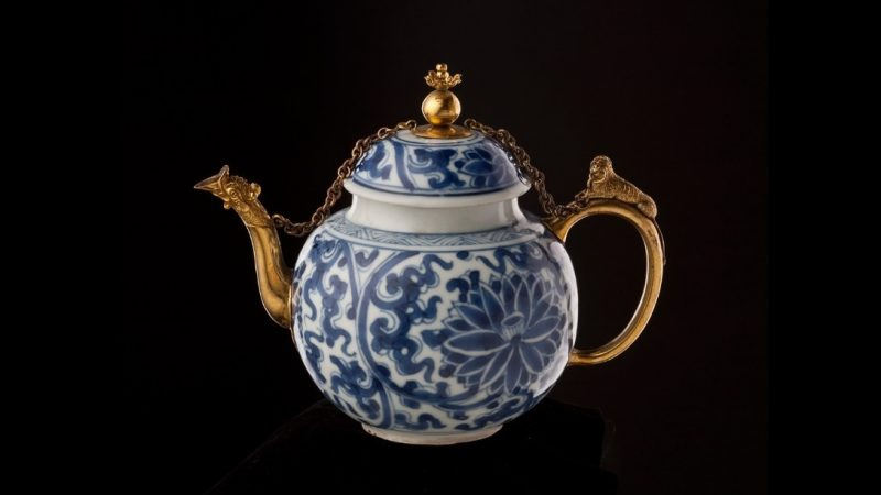 Gold plated ceramic teapot